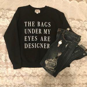 CUTE Black Design Sweatshirt Sz XS/S